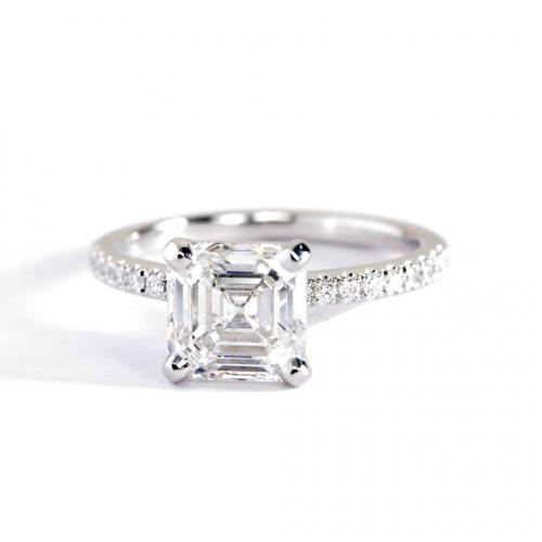 1.15 Carats SI2 F Riviera Asscher Cut Diamond Engagement Ring 18K White Gold
