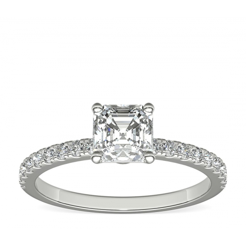 1.15 Carats SI2 F Riviera Asscher Cut Diamond Engagement Ring 18K White Gold