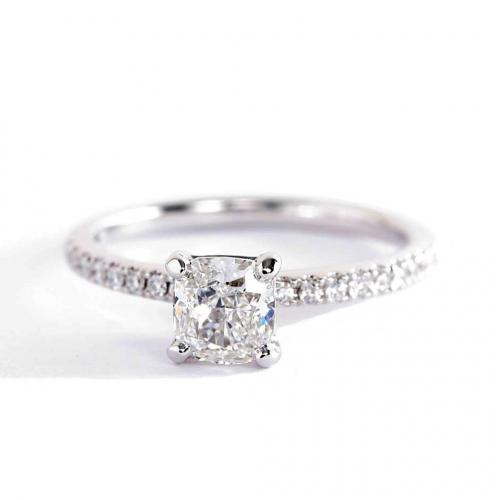 0.65 Carat SI2 F Riviera Cushion Cut Diamond Engagement Ring 18K White Gold