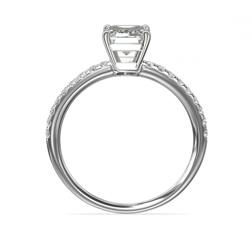 GIA Cert 1.15 Cts SI1 H Riviera Emerald Diamond Engagement Ring 18K White Gold