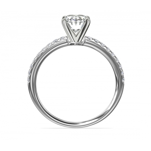 GIA Cert 1.05 Cts SI2 D Riviera Oval Diamond Engagement Ring 18K White Gold