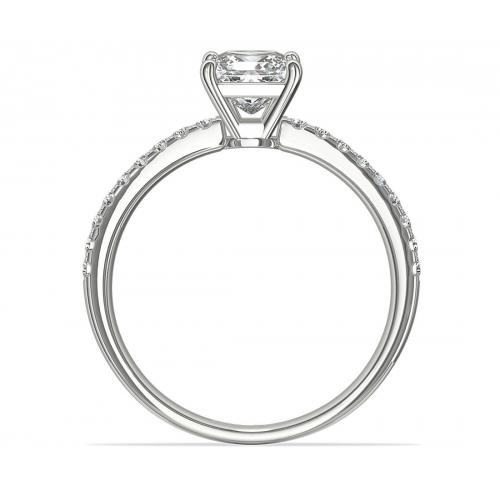 GIA Cert 1.05 Cts VS2 H Riviera Princess Diamond Engagement Ring 18K White Gold