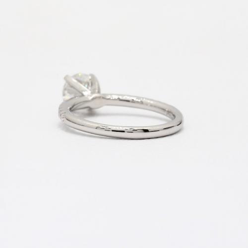 1.15 Carats SI2 F Riviera Round Cut Diamond Engagement Ring 18K White Gold
