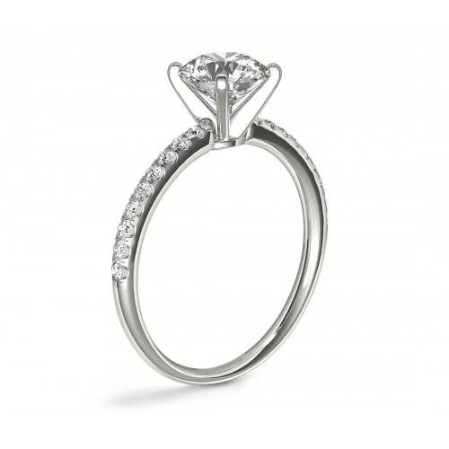 1.15 Carats SI2 F Riviera Round Cut Diamond Engagement Ring 18K White Gold