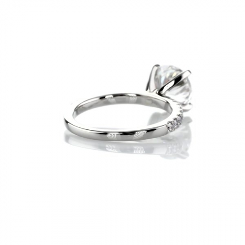 1.75 Carats SI2 F Petite Round Cut Diamond Engagement Ring Platinum