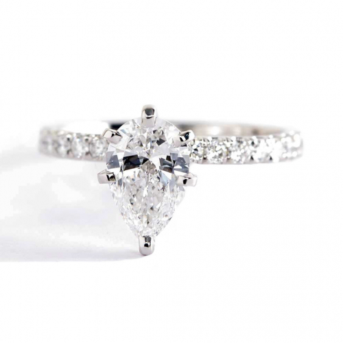 1.50 Carats SI2 F Cathedral Pear Cut Diamond Engagement Ring 18K White Gold