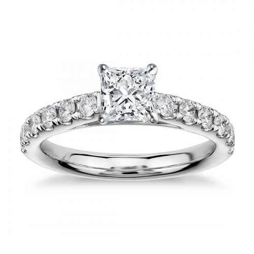 GIA Cert 1 Ct VS2 F Cathedral Princess Diamond Engagement Ring 18K White Gold