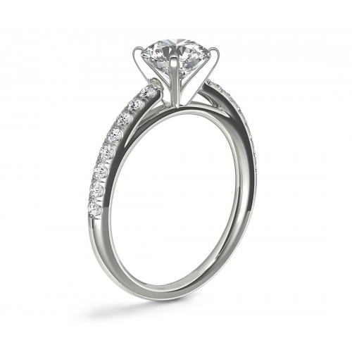 1.50 Carats VS2 F Cathedral Round Cut Diamond Engagement Ring 18K White Gold