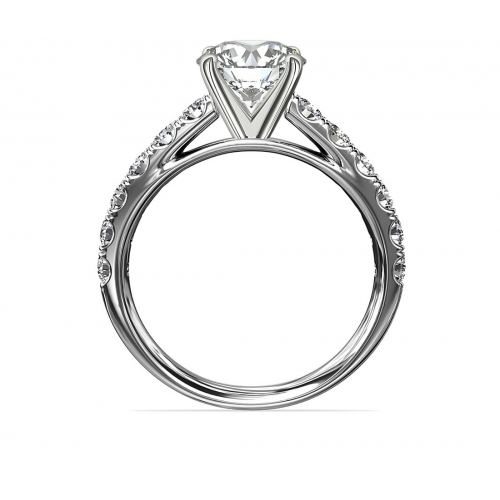 1.40 Carats SI2 F Cathedral Round Cut Diamond Engagement Ring 18K White Gold