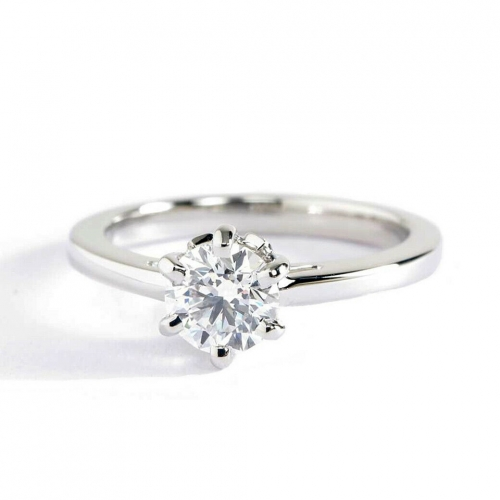 GIA Certified 0.55 Ct SI2 F 6 Prongs Round Cut Diamond Engagement Ring Platinum