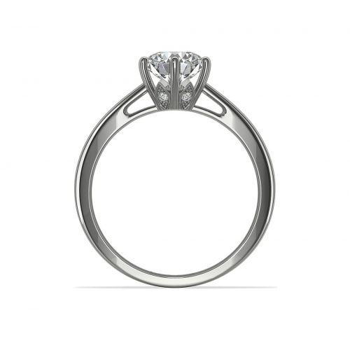 GIA Certified 0.35 Ct SI2 D 6 Prongs Round Cut Diamond Engagement Ring Platinum