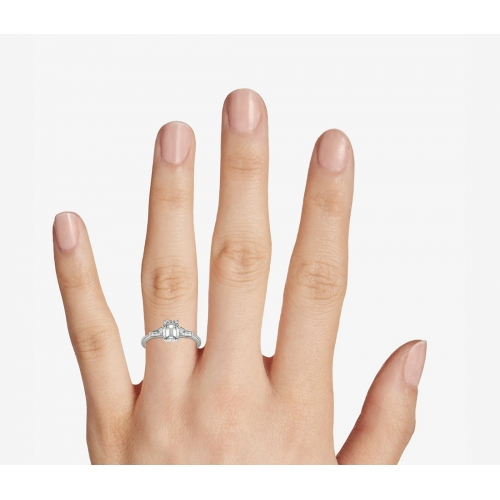 1.1 Carats VS2 F Classic Emerald Cut Diamond 3 Stone Ring 18K White Gold
