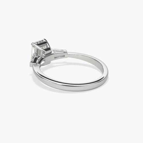 GIA Certified 0.9 Ct VS2 F Classic Emerald Diamond 3 Stone Ring 18K White Gold