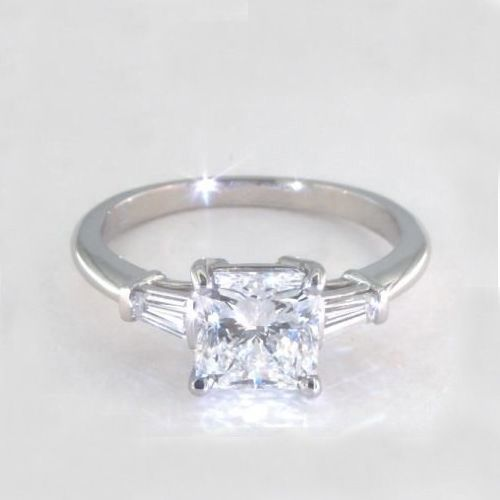 1.1 Carats SI2 D Classic Radiant Cut Diamond 3 Stone Ring Platinum