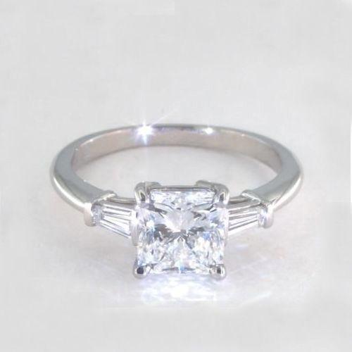 1.1 Carats SI2 D Classic Radiant Cut Diamond 3 Stone Ring Platinum