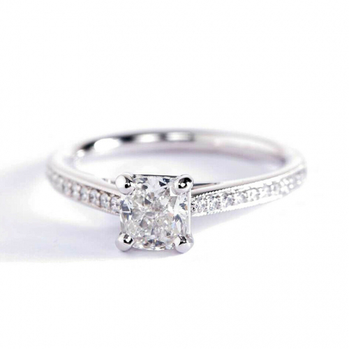0.95 Carat SI2 H French Pave Cushion Diamond Engagement Ring 18K White Gold