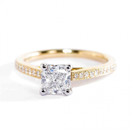 1.15 Carats SI2 D French Pave Cushion Diamond Engagement Ring 18K Yellow Gold