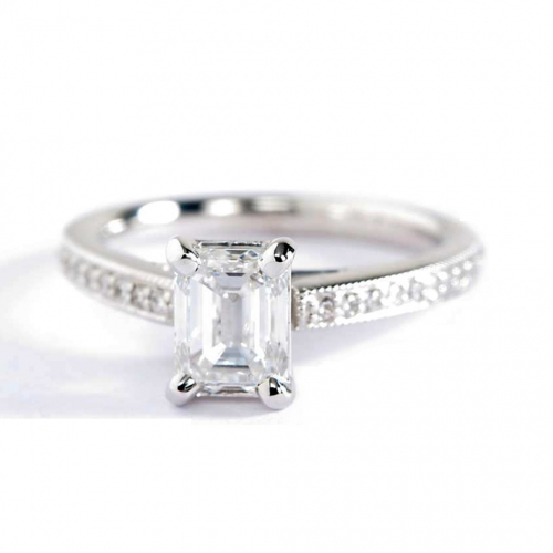 1.15 Carats SI1 F French Pave Emerald Diamond Engagement Ring 18K White Gold