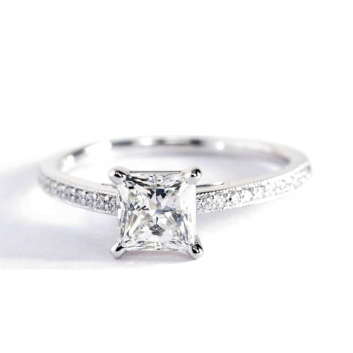 0.95 Carat SI2 F French Pave Princess Cut Diamond Engagement Ring Platinum