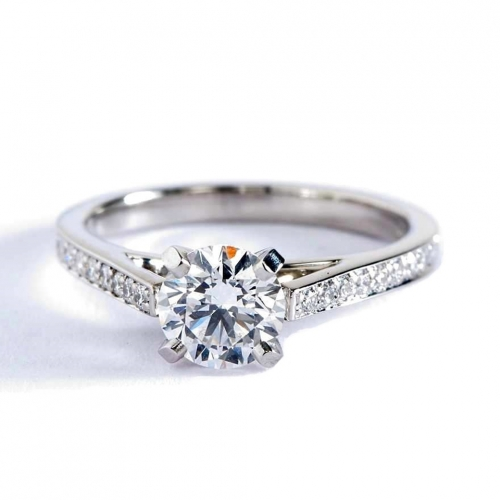 GIA 0.95 Ct SI2 F French Pave Round Brilliant Diamond Engagement Ring Platinum
