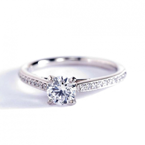0.72 Ct SI2 D French Pave Round Diamond Engagement Ring 18K White Gold