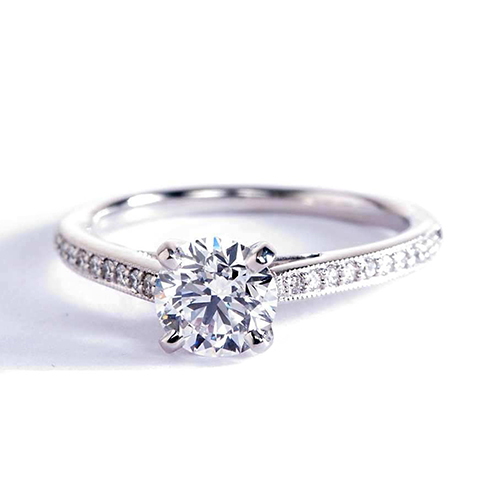1.12 Ct SI2 F French Pave Round Brilliant Diamond Engagement Ring 18K White Gold