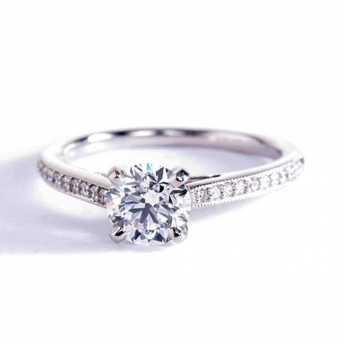 GIA0.72 Ct SI2 D Pave Round Brilliant Diamond Engagement Ring 18K White Gold