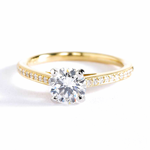 0.92 Ct SI2 H French Pave Round Diamond Engagement Ring 18K Yellow Gold