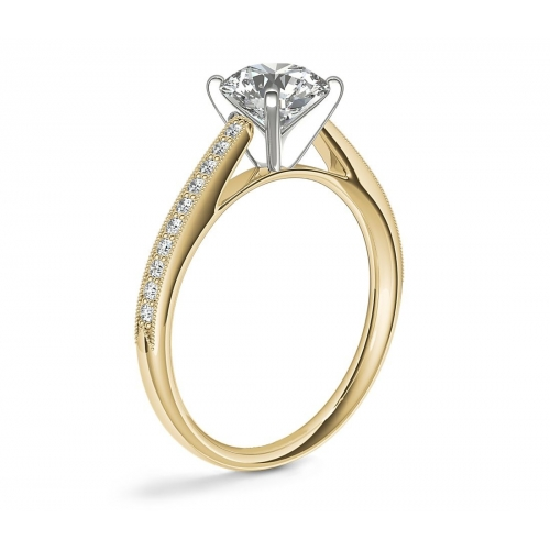 0.95 Ct SI2 H French Pave Round Diamond Engagement Ring 18K Yellow Gold