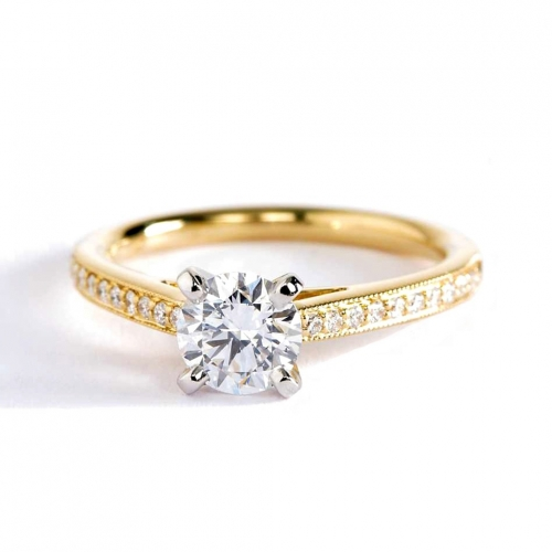 0.75 Ct SI2 H French Pave Round Diamond Engagement Ring 18K Yellow Gold