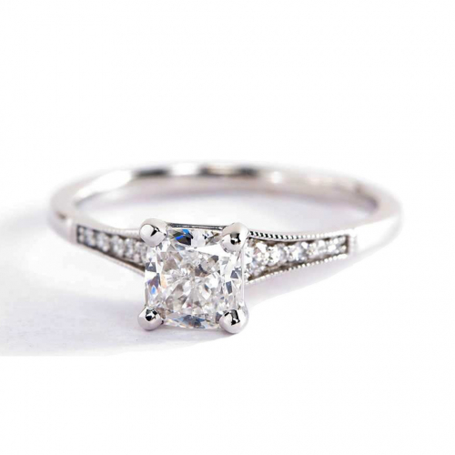 0.65 Ct SI2 D Graduated Milgrain Cushion Diamond Engagement Ring 18K White Gold