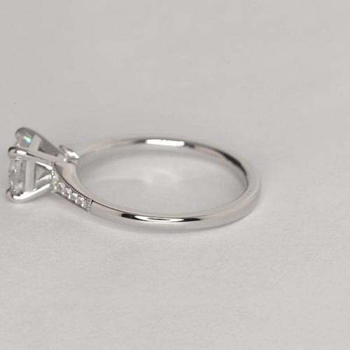 0.65 Ct SI2 D Graduated Milgrain Cushion Diamond Engagement Ring 18K White Gold