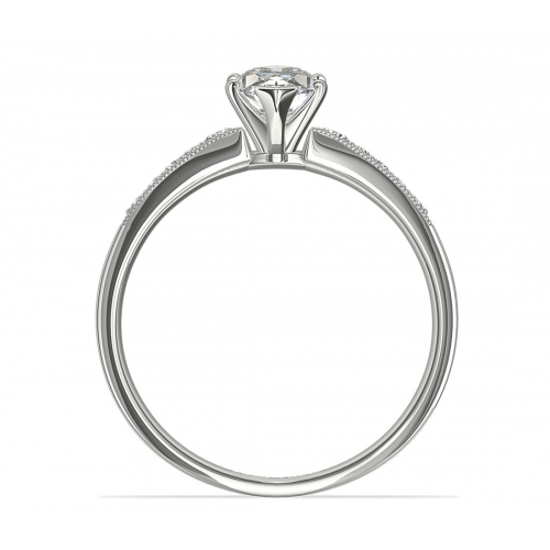0.65 Ct SI2 F Graduated Milgrain Marquise Diamond Engagement Ring 18K White Gold