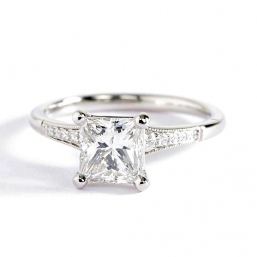 1.15 Ct VS2 H Graduated Milgrain Princess Diamond Engagement Ring 18K White Gold