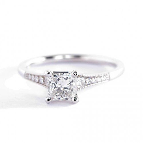 0.65 Ct SI2 H Graduated Milgrain Princess Diamond Engagement Ring 18K White Gold