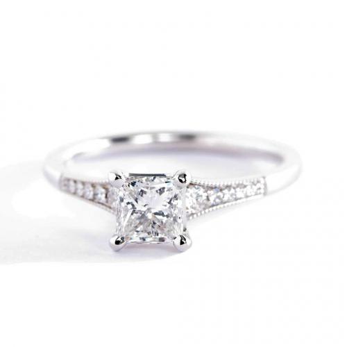0.65 Ct SI2 H Graduated Milgrain Princess Diamond Engagement Ring 18K White Gold