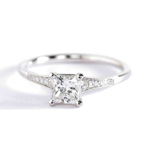 0.65 Ct SI2 F Graduated Milgrain Princess Diamond Engagement Ring 18K White Gold