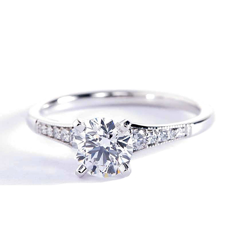 0.85 Ct VS2 F Graduated Milgrain Round Diamond Engagement Ring Platinum