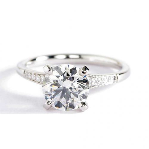 1.65 Cts SI2 F Graduated Milgrain Round Diamond Engagement Ring Platinum