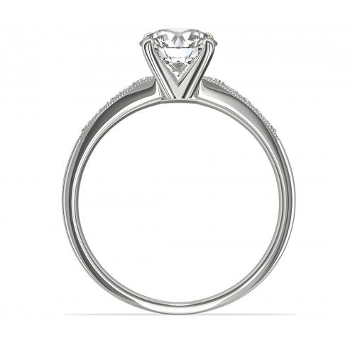 1.65 Cts SI2 F Graduated Milgrain Round Diamond Engagement Ring Platinum