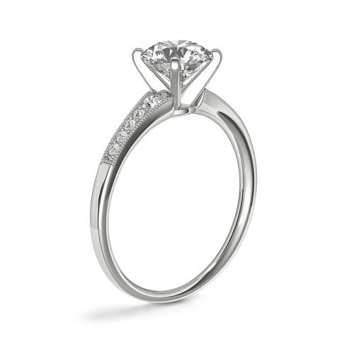 GIA 0.65 Ct VS2 H Graduated Milgrain Round Diamond Engagement Ring Platinum