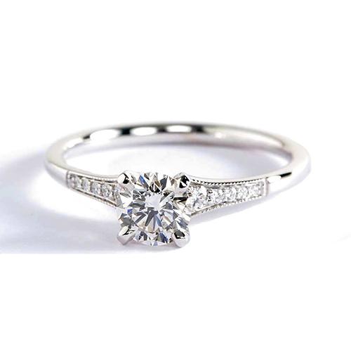 0.45 Ct VS2 F Graduated Milgrain Round Diamond Engagement Ring Platinum