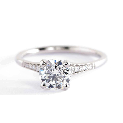 1.05 Cts SI2 H Graduated Milgrain Round Diamond Engagement Ring Platinum