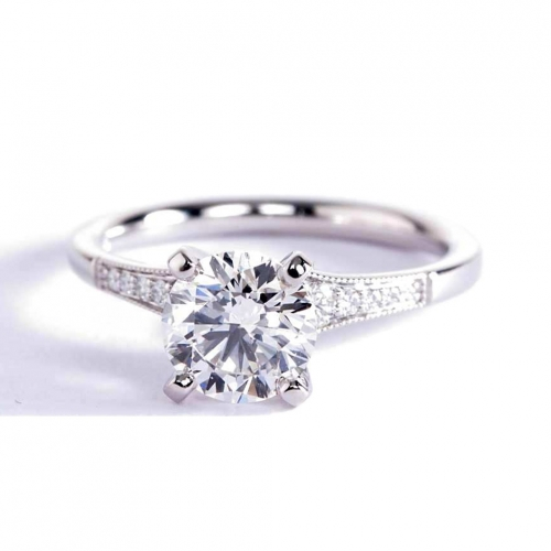 GIA 1.15 Cts SI2 F Graduated Milgrain Round Diamond Engagement Ring Platinum