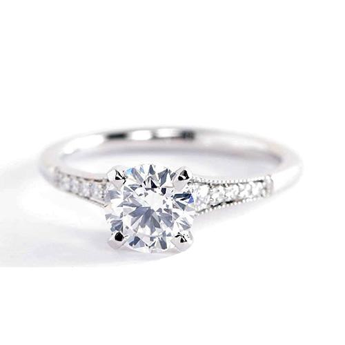 0.85 Ct SI2 D Graduated Milgrain Round Diamond Engagement Ring 18K White Gold