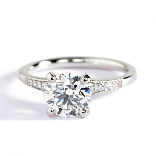 1.15 Cts VS2 F Graduated Milgrain Round Diamond Engagement Ring 18K White Gold