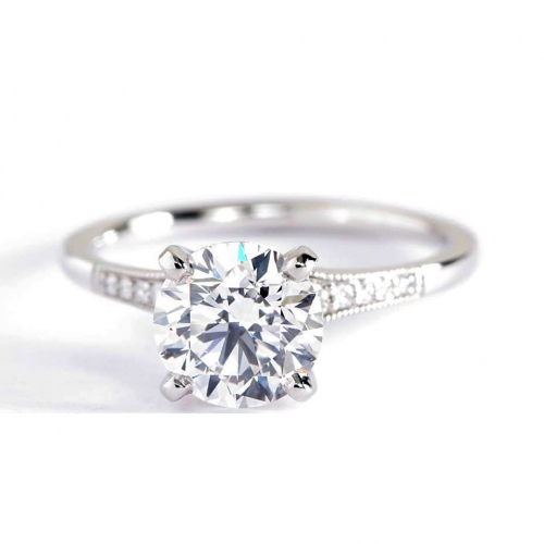 1.65 Cts SI2 D Graduated Milgrain Round Diamond Engagement Ring 18K White Gold