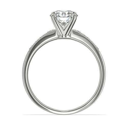 1.65 Cts SI2 D Graduated Milgrain Round Diamond Engagement Ring 18K White Gold