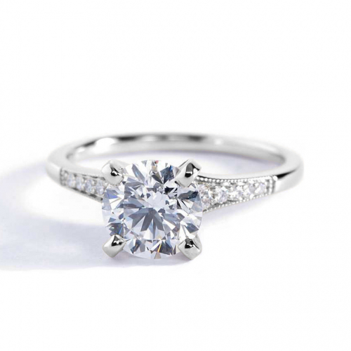 1.15 Cts SI2 D Graduated Milgrain Round Diamond Engagement Ring 18K White Gold
