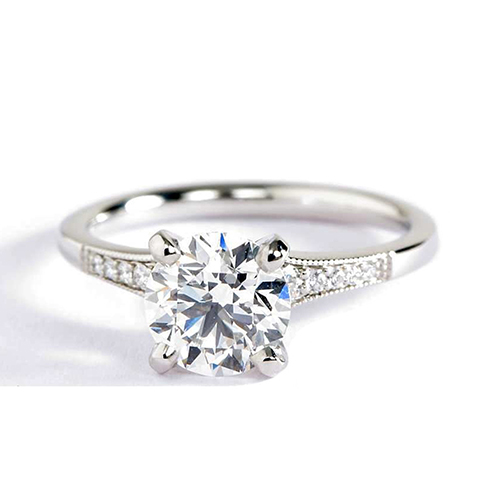 1.05 Cts VS2 F Graduated Milgrain Round Diamond Engagement Ring 18K White Gold